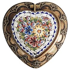 Antique Micromosaic Pill or Rosary Box Heart Shape