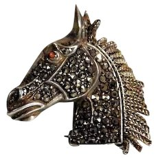 Fantastic Silver Brooch Horse Head
