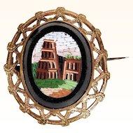 Micro Mosaic Brooch Coliseum in Rome Grand Tour Souvenir ca. 1880