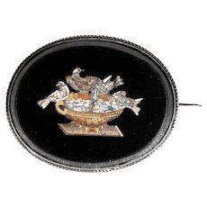 19th Century Exquisite Micro Mosaic Brooch Plini Doves Grand Tour Souvenir