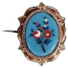 19C  Brooch Hand Painted Opaline Plaque Picture/Hair Curl Compartment