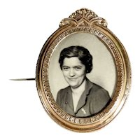 Large Brooch Photo with Hair Curl Compartment