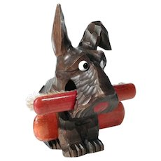 Hand Carved Brush Holder Dog Scottie – An Eyecatcher!