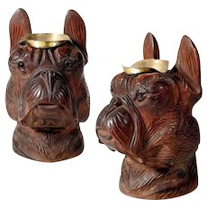 Exceptional Hand Carved Dog Head Boston Terrier or Bulldog