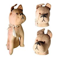 Tall Old Primitive Toy Bully Stuffed Dog