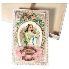 Remembrance of the Holy  Baptism  Angel with Christening Baby dated 1891