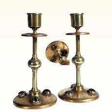 19th Century Bronze Candle Stick Pair Agate Cabochons
