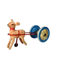 German Toy Fawn with Cart and Bell 1945 - 1949