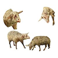 Pair of Folk Art Hand Carved and Painted Sheep