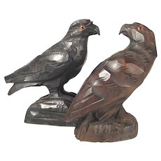 Pair of Hand Carved Eagle Black Forest
