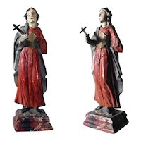 Hand Carved Religious Saint John Statue Folk Art ca. 1850