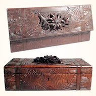 Large Jewerly Casket Hand Carved Edelweiss Flower