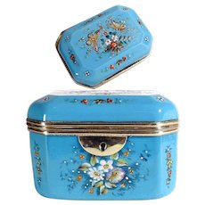 Amazing Antique French Blue Opaline Casket Hand Painted
