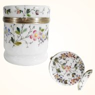 19th Century White Opaline Glass Box Casket Enamel Hand Painting