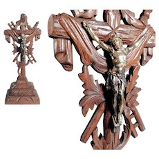 Cross Crucifix Wooden Golgatha Cross ca. 1920