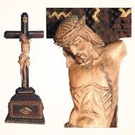 Rare Tramp Art Crucifix Carved Jesus Body Folk Art ca. 1900