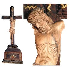 Rare Tramp Art Crucifix Carved Jesus Body Folk Art ca. 1900