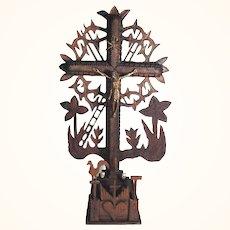 Folk Art Wooden Crucifix Open Work Instruments of Passion