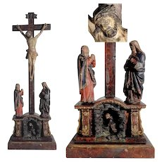 Rare Devotional Carving Crucifix with Virgin Mary and Saint John