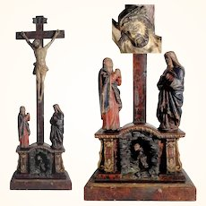 Remarkable Devotional Carving Crucifixion with Virgin Mary and Saint John