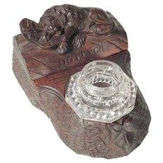 Hand Carved Desk Set Inkwell Stamp Box Black Forest Lion of Lucerne