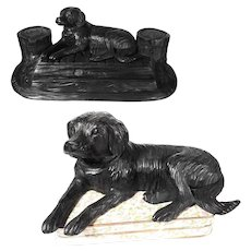 Large Hand Carved Desk Set Recumbent Dog St. Bernard