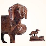 Rare Desk Set Hand Carved Saint Bernard Dog