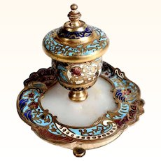 19th Century Elegant French Inkwell Enamel and Marble