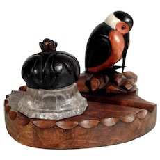 Lovely Hand Carved Ink Well Woodpecker ca. 1920 – High Spirits Piece!