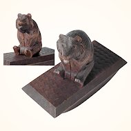 Hand Carved Blotter Bear Top Black Forest
