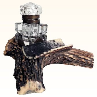 Decorative Antler Desk Stand with Cut Glass Ink Well