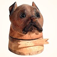 Adorable Ink Well Dog Head Glass Eyes Hand Carved ca. 1900