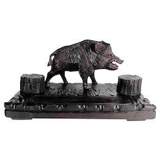 Hand Carved Desk Set Imposing Boar