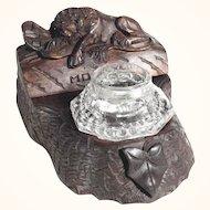 Hand Carved Desk Set Inkwell w. Stamp Box Black Forest Lion of Lucerne ca. 1900