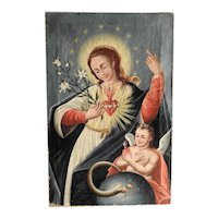 Baroque Religious Painting Immaculate Heart of Mary 18th Century