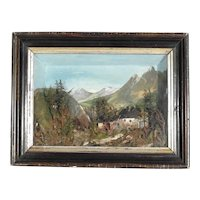 Romantic Era Diorama Shadow Case Mill Landscape ca. 1850
