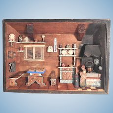 Delightful and Rare Farmhouse Parlor Diorama