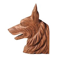 Beautiful Hand Carved German Shepherd Dog Head