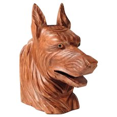 Nice Hand Carved German Shepherd Dog Head