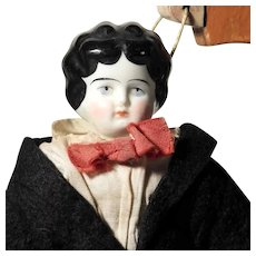 Rare German Porcelain Shoulder Head Doll Boy ca. 1900