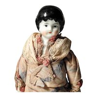 Lovely German Porcelain Shoulder Head Doll ca. 1900