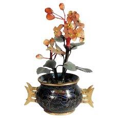 Chinese Miniature Cloisonne Vase Jade & Carnelian Plants Doll House