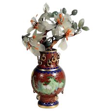 Decorative Chinese Miniature Cloisonne Jade Plants Doll House