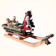 Santa on Sled Wool Sheep Gifts Doll House Display