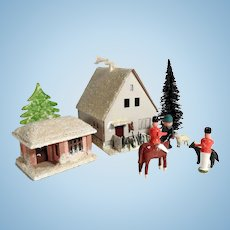 Great Winter Scenery Hunting Lodge Hunter and Rangers Doll Village