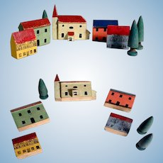 Miniature Doll Village Houses Church Trees Wood Made