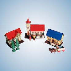 Lovely Doll Village Church Houses Persons Carriage