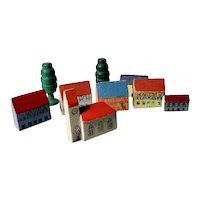 Miniature Wooden Houses and Church 7 Pieces Doll Village