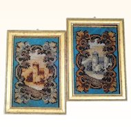 19th Century Pair of Matching Beadworks Miniatures Castle Fall and Winter Doll House
