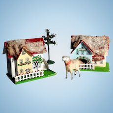 Sweet Houses for Doll Village Wool Sheep and Tree